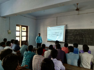 Physics Department Faculty taking class using projector (4)