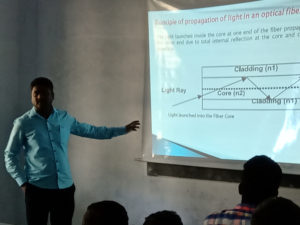 Physics Department Faculty taking class using projector (5)