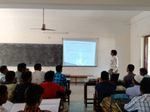 Physics Department Faculty taking class using projector (6)